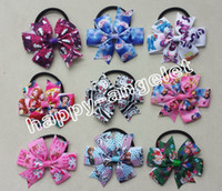 "polyester with Elastic with clip 50pcs Random style frozen cartoon Sofia Zootopia Doc McStuffins 3"" baby princess chevron Hair bobbles Bows clips Elastic Hair Band PJ5285"