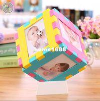 baby photo cube - Meiju magic cube photo frame plaid dress photo frame baby hanging wall child photos