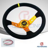 Wholesale PQY STORE GOLD Steering wheel ID inch mm OMP Deep Corn Drifting Steering Wheel Suede Leather Steering wheels PQY SW21B
