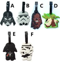Wholesale 6 Designs Star Wars Luggage Tags Star Wars Darth vader Travel Silicone Luggage Tags Suitcase Baggage Bag ID Tag Holder Handbag Tag