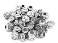 Wholesale 100 Mixed Silver Tone CCB Plastic Spacers Beads Fit Charm Bracelet Over Free Express