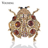 Wholesale Cute Ladybird Safety Pin Brooch Colors White Gold Plated Fashion Crystal Animal Brooch Pin Vx Vocheng Jewelry