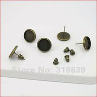 Wholesale 30pcs Antique Bronze Stud Earring Back Earring Base Blank mm Vintage Earring Components