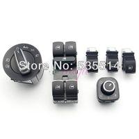 Wholesale 6Pcs Set Chrome Headlight Mirror Window Switch Control Fit for VW Jetta Golf Passat