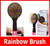 anti static hairbrush - New Rainbow Comb Anti static Hair Brush Volume Massage Hairbrush With Mirror For Brazilian Indian Extension Human Wig Hair Tangle