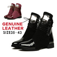 Wholesale Size Genuine Leather Boots Fashion Platform Women Autumn Ankle Boots Fur Inside Flat shoes Woman Lace up Motorcycle Boot