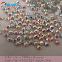 glue on nails - SS3 mm Clear Crystal AB bag Non HotFix FlatBack Rhinestones glass Glitter glue on loose nail crystals stones DIY for fashion