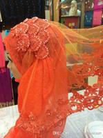 beaded veil patterns - Plants Flower Pattern Lace Chiffon Muslim Bridal Veils Beaded Wedding Veils New Arrival