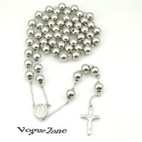big rosary beads - 94cm mm Big Long Rosary Silver Plated L Stainless Steel Beads Cross Pendant Body Chains Necklace Women Mens Religious BRN68