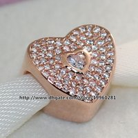 Wholesale 925 Sterling Silver Rose Gold Plated Sweetheart Charm Bead with Cz Fit European Pandora Style Jewelry Bracelets Necklaces