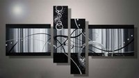 Wholesale 100 hand painted oil painting black and white abstract painting decorative wall art painting