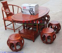 Wholesale Living room coffee table real red sandalwood leisure wood desk JY T002 total in pieces drum stool chair