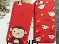 Cheap Cute Cartoon Monkey Banana Case Cover For Apple iPhone 5 5s 6 6S 6Splus Case Silicone 6 Series Transparent Case For Phone
