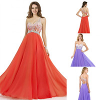 Reference Images cheap long prom dresses - Vintage Cheap Coral Lavender Sheer One Shoulder Prom Dresses Long Crystal Backless Formal Evening Gowns Christmas Party Dress CPS092