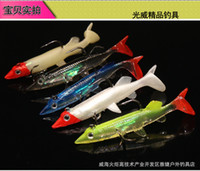 Wholesale Lead Head Soft Fishing Lures Long T Tail Fishing Lure Sharp Treble Hook Soft Bait Fishing Tackle cm g J2