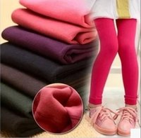 cotton leggings - Kids girls fleece Leggings Hot Children spring winter solid color warm Pants Velvet Legging Knitted Thick Slim Cotton Leggings pants T