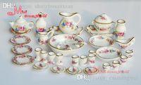 Wholesale Porcelain Rose Tea Dinner Set Of Dining DIsh Plate Scale Dollhouse Miniature Furniture