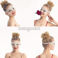 Wholesale Wholsale Sexy Lace Veil Halloween Masquerade Dance Mask Face Mask Black Cutout Party paintball Masks b8 SV003077