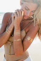 Wholesale Golden Metallic Temporary Tattoos styles Popular Flash Fake Tato Henna Tatoos Gold Silver Waterproof Glitter stickers new