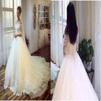 Personalizado feito de Alto Nível 2016 Custom Made vestidos de noiva China Vestido de Noiva mangas longas Totalmente Lace Vestidos de casamento A Linha de Noiva Vestuário