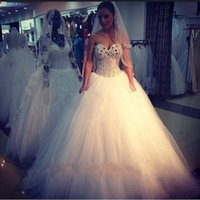 Wholesale 2015 Bling Bling Corset Wedding Dresses Ball Gown Beaded Sweetheart Puffy Floor Length Bridal Gowns Custom Made Victorian
