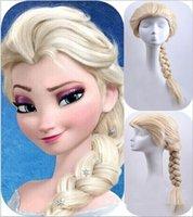 Wholesale Frozen wig popular cartoon girl Hair Wigs children Cosplay Wigs Elsa Anna princess white fluffy long hair single plait new arrive new