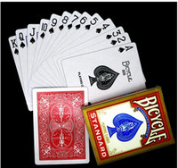 magic deck - 100 Genuine Original Bicycle Playing Cards Standard Poker New Deck Plastic Playing Cards Bicycle Magic Track Red Blue