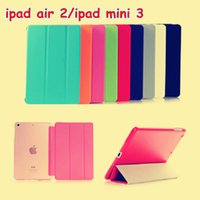 Wholesale Official Flip Sleep wake Smart Cover Magnetic Case PU leather with stand holder for ipad ipad Air front back case