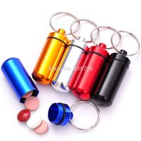 Wholesale 5X Mini Waterproof Aluminum Pill Medicine Drug Box Case Holder Container Keychain Keyring High Quality Portable