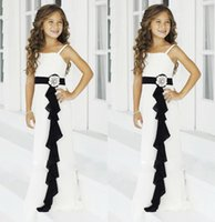 black and white flower girl dresses - Black and White Ball Gown Flower Girl s Dresses with Spaghetti Strap Long Chiffon Princess Birthday Child Pageant Wedding Gowns Cheap