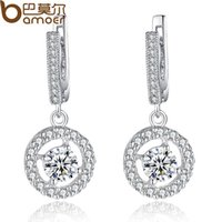 Wholesale Bamoer Luxury Plated White Gold Earring for Lady Elegant Drop Earring With CZ Diamond CM Clasp For Pierced Ear YIE077