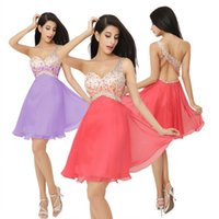 silk dress shirt - 2015 New Short Prom Homecoming Party Cocktail Dresses Graduation Ready To Wear Mini One Shoulder Backless Beads Coral Chiffon Cheap dresses