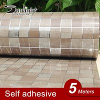 adhesive plastic roll - 5Meters Bathroom PVC Mosaic Wallpapers for Kitchen Waterproof Tile Stickers Plastic Vinyl Self Adhesive Wallpaper Home Decor