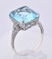 Wholesale New fashion hot fashion silver ring carved aquamarine ring the most gorgeous national wind topaz stone silver rings