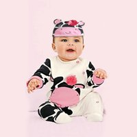 baby layette patterns - 2015 Autumn Little Children Rompers Cow Pattern Printed Layette For Baby Pure Cotton With Lovely Cattle Hat Two Colours Kids One piece CR337