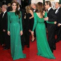 angelina jolie pink dress - Sparkle Sequined Green Prom Dresses Angelina Jolie Red Carpet Backless A Line Full Long Sleeve Celebrity Dresses Evening Gowns Cheap