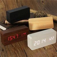 acoustic alarm clock - Acoustic Control Sensing Wood Clock Dual LED display Bamboo Clock LED Digital alarm clock Led Show Temp Time Voice Control