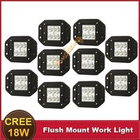 Cheap CREE 18W Flush Mount LED Work Light 4'' Spot Truck Trailer Wagon 4X4 4WD Bumper Tail Rear Brake Light Bar Offroad Fog Headlight