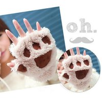 claw gloves - Winter Fluffy Bear Cat Plush Paw Claw Gloves Novelty Halloween Soft Toweling Half Covered Women s Gloves Mittens