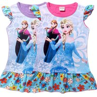 Cheap DHL Fedex Free Frozen Elsa Anna Dress 2015 new Princess Girls Cartoon Short sleeve pajamas dress baby clothes 2-8Y C001