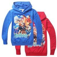 Wholesale Prettybaby kids boys cartoon zootopia printing long sleeve hoodies colors hooded cotton shirts bunny Judy fox Nick children gift Pt0290