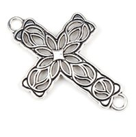 cross bracelets - New x42mm Tibetan Silver Cross Flower Charms Pendants Connectors Bracelets DIY