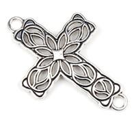 Connectors bracelet connectors - New MIC x42mm Tibetan Silver Cross Flower Charms Pendants Jewelry Findings Connectors Bracelets Necklace DIY