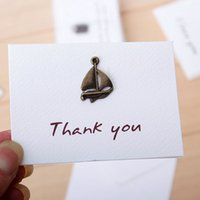 wholesale gift cards - 24 Folding mini Greeting card Vintage pendant card for Wedding Thanks Message Gift blank card party invitation