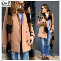 Women Autumn Winter Fashion Casual UK Overcoat Brand Designer Clothes Sale Camel Notch Lapel Long Sleeve Double Breasted Coat