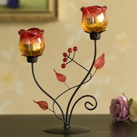 Wholesale iron candlestick ornaments rose candle holder craft soft decoration for a Romantic candlelight dinner