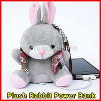 Wholesale Special present Plush Rabbit mAh power bank for Samsung Apple iphone xiaomi cartoon doll power bank with gift box