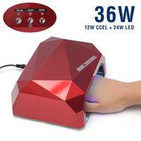 Wholesale 36W UV Lamp LED Lamp Nail Dryer Nail Lamp Diamond Shaped Long Life LED CCFL Curing for UV Gel Nails Polish Nail Art Tools