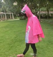 Wholesale new Frozen Cloak Raincoat Children Rain Cape Cartoon Pattern Elsa Anna Kids Childs PVC Hooded Rain Coat wear gfb7u