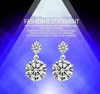 Wholesale Fashion Sterling Silver Earings with Stone Sparkly Cubic Zircon Earring Accessory Personalized Women Wedding Y044